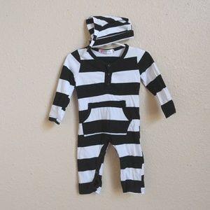 Other - Black & white Striped cotton Romper w/ Beanie